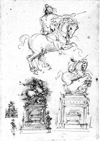 Disegno di Leonardo per la tomba di Gian Giacomo Trivulzio