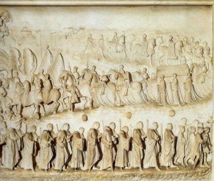 La processione che trasporta il corpo a Milano
