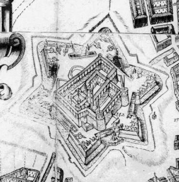 Il Castello con la bastionatura priva ancora delle mezzelune