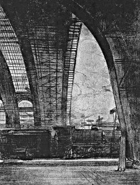 Центральный вокзал Милана. Рисунок Г. Сисари на новом Центральном вокзале (1931)