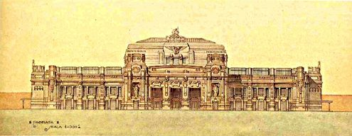 Центральный вокзал Милана. Изменение проекта Stacchini 1915 года