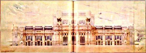 Центральный вокзал Милана. Заключительный проект фасада, арк. Стакини (1924)
