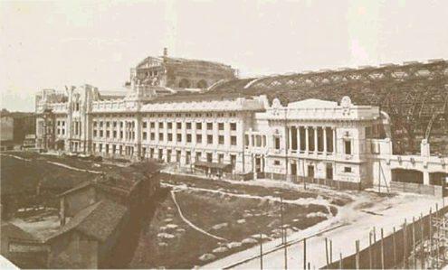 Центральный вокзал Милана. Каменная кладка и стальные конструкции к завершению (около 1930 г.)