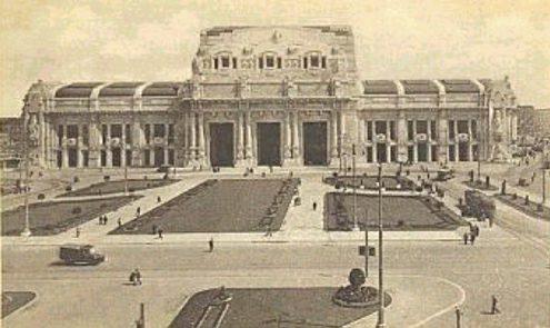 Центральный железнодорожный вокзал Милана. Станция и площадь в 1930-х годах